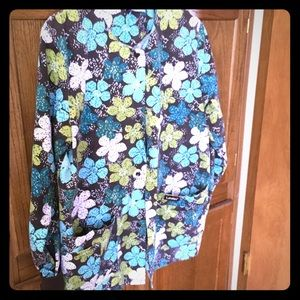 Brown floral themed lab coat